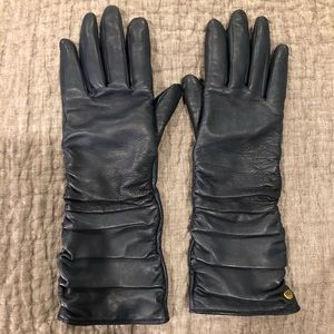 Ugg Bianka Navy Leather Ruched Gloves - Size S
