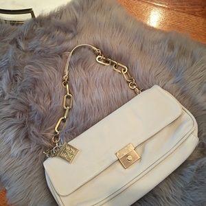 DKNY ivory leather bag gold hardware new women
