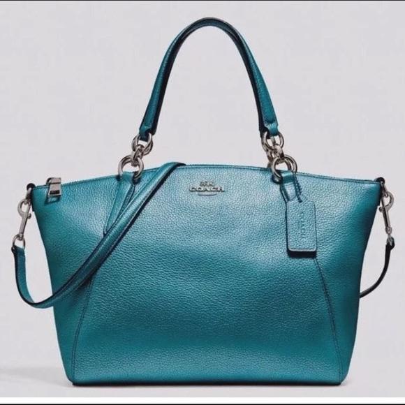 662846047139 Coach Small Kelsey Satchel Metallic Pebble Leather