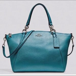 Coach Small Kelsey Satchel Metallic Pebble Leather