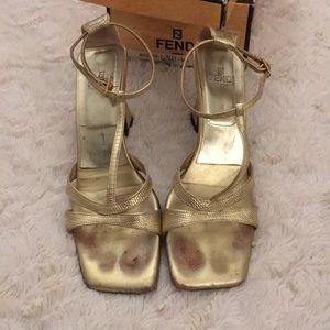 Vintage Fendi Gold Heels