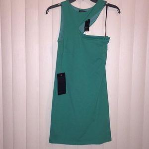 NWT Bebe jade green asymmetrical dress