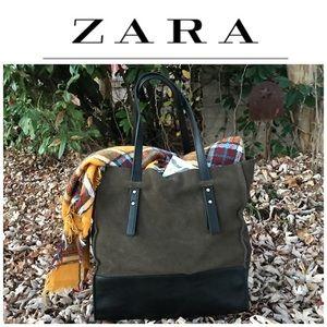 Zara Basic Green Suede Tote