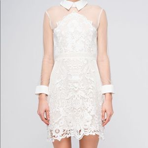 White Sheer and lace Dress