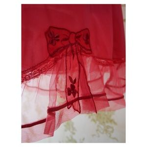 Other - Red Vintage Skirt Slip with decorative Bow detail