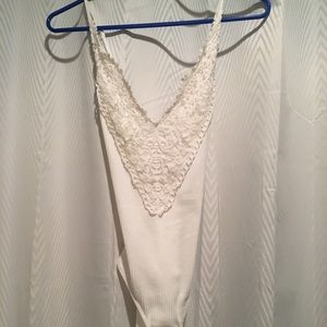 White bodysuit with lace detail size small