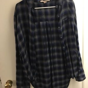 Blue and grey long flannel