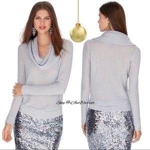 WHBM silver shimmer cowl sweater
