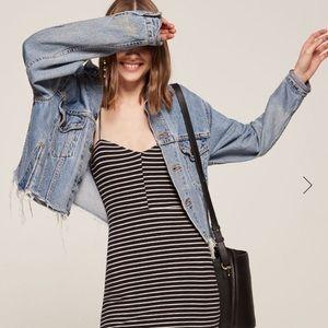 Reformation spencer dress in marine blue stripe