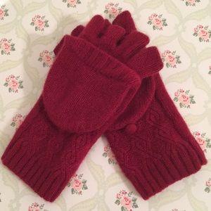 Deep red 100% cashmere glittens = gloves + mittens