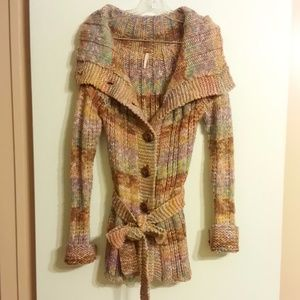 Free People Sweater Cardigan Colorful Knit