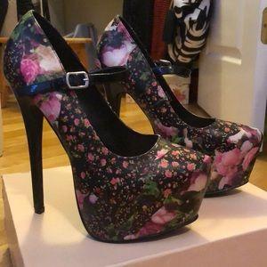 """Roxy"" platform floral heels"