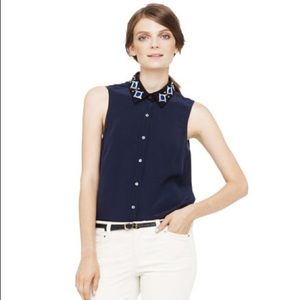 Club Monaco S Navy Beaded Silk Sleeveless Blouse