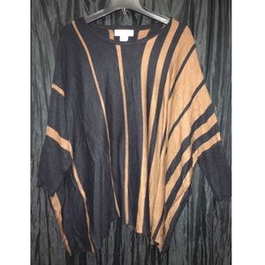 Stripped poncho sweater with sleeves