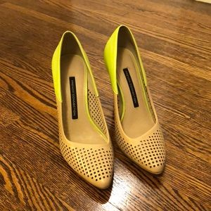 Neon Green and Khaki heel size 7M