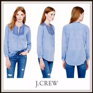 👚J. Crew Embroidered Bib Suckered Stripe Shirt