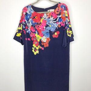 LOFT Navy Blue and floral shift dress