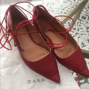 Zara red lace-up flats