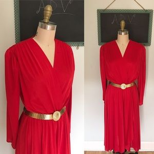 Vintage Late 1970s-1980s Red Disco Holiday Dress❤️