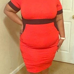 Monif C Red color block dress