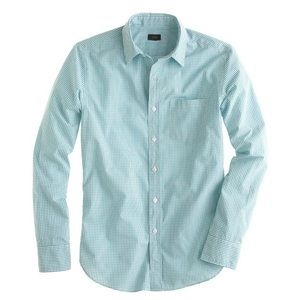 J.Crew - Secret wash shirt in turquoise check. Med