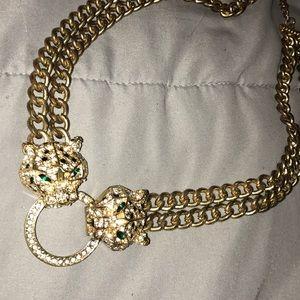 Gold double Lion nexcklace
