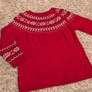 Talbots Red Crew Neck Sweater 3/4 sleeve