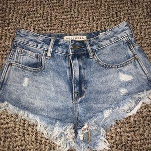 bullhead high rise jean - light washed shorts