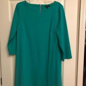 Teal knit pointe sheath dress 3/4 length sleeve