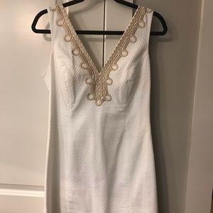 Lilly Pulitzer White V-Neck Gold Detail Dress