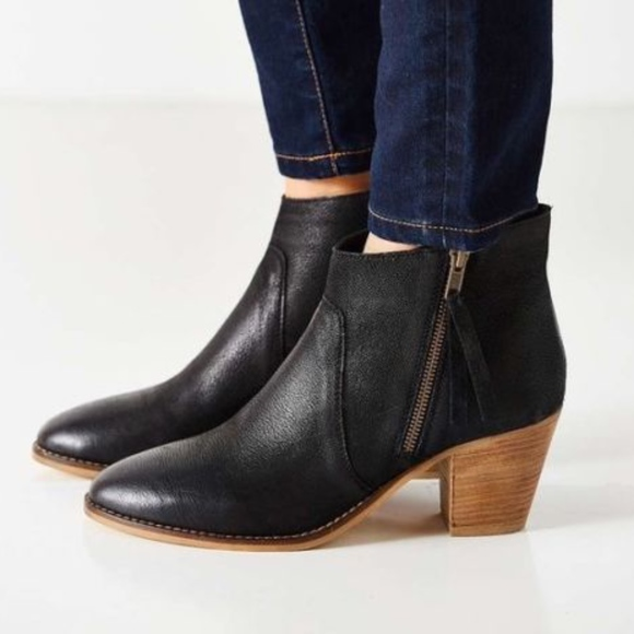 Black Faye Vegan Leather Bootie Boot Wooden Heel
