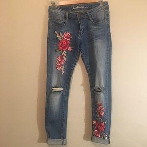 Floral boyfriend jeans