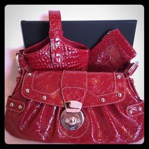BISOU BISOU Red Crinkle Satchel Handbag