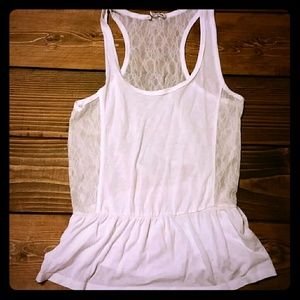 ADORABLE American Eagle cream lace peplum tank