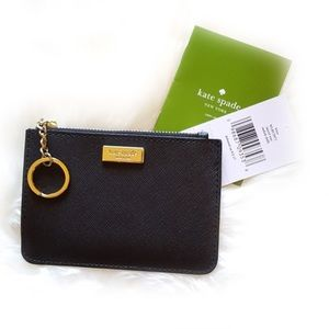 Kate Spade Coin Card Pouch Keychain Black Wristlet