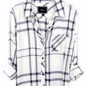 Free People White and Navy Flannel