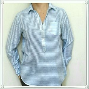 J. Crew Blue striped popover shirt