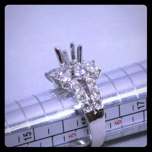 14kt White Gold Diamond Semi Mount Colorless