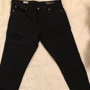 Ripped Black Gap Girlfriend Jeans