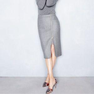 J CREW Black Pencil Wool Zipper Skirt Size 00