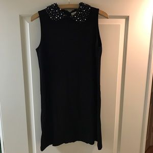 Zara Embellished Collar Black Shift Dress size S