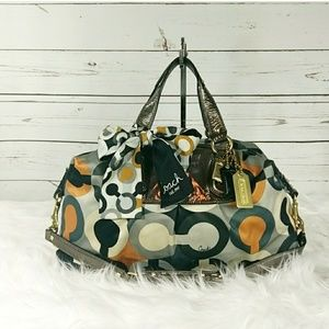Coach Ashley Op Art Satchel With Scarf