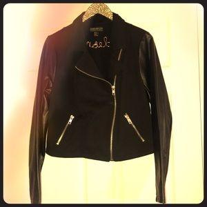 NWOT Black Jacket - Faux Leather Sleeves