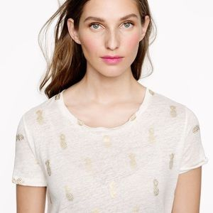 J.Crew Linen Golden Pineapple Tee