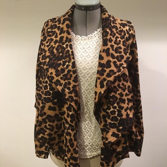 1afc8225aa3b Grace Elements Jackets & Coats | Leopard Print Open Front Jacket ...