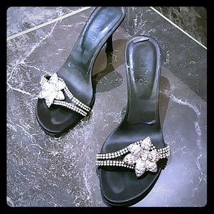 Franco Sarto Black Crystals kitty heels .Size 6.5