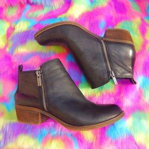 black leather lucky brand booties PERFECT/UNWORN