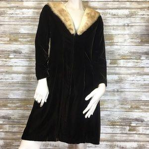 Handmade Vintage Dark Brown Velvet & Fox Fur Dress