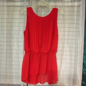 💟 BISOU BISOU Hot Red Elegant Sleeveless Top