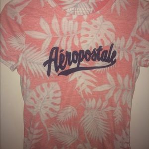 TROPICAL PINK AND WHITE T-SHIRT